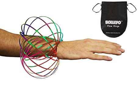 Review BOLLEPO Flow Ring Kinetic 3D Spring Toy Sculpture Ring Game Toy For Kids Boys And Girl, Rave Accessories, Festival Accessories (Rainbow)