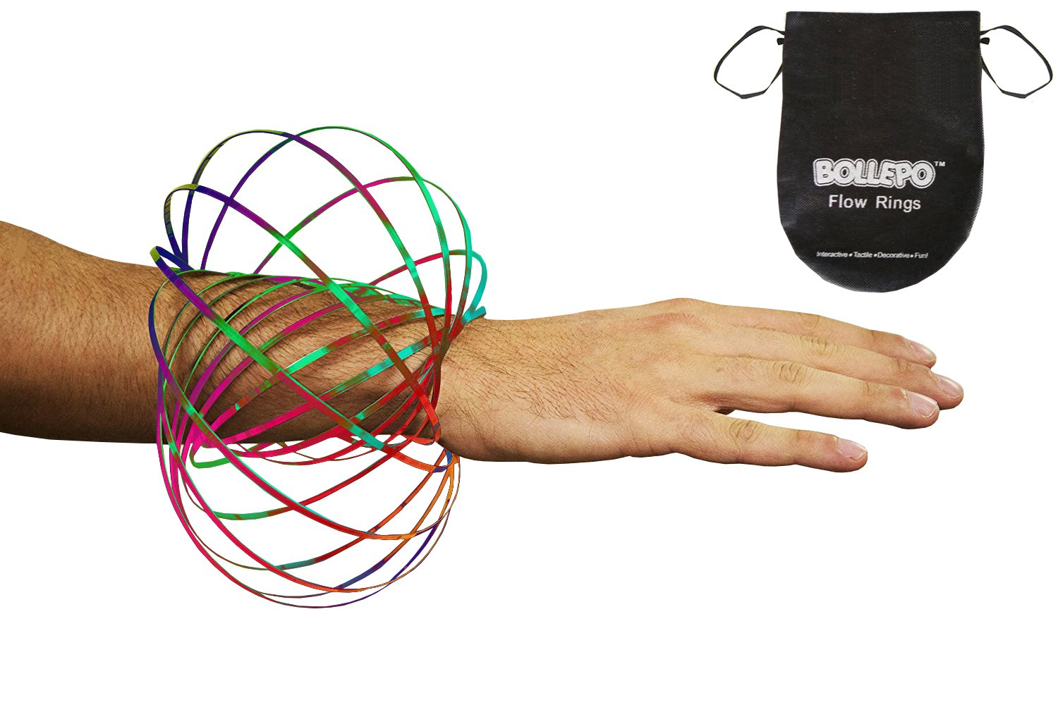 BOLLEPO Flow Ring Kinetic 3D Spring Toy Sculpture Ring Game Toy for Kids Boys and Girl, Rave Accessories, Festival Accessories (Rainbow)