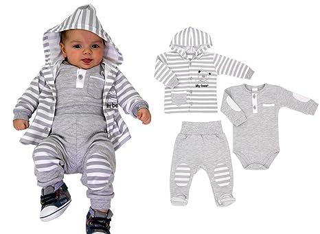 3-tlg. Baby Set Jogginganzug mit Body grau Gr.62-92 (68, Hose mit Füßchen)