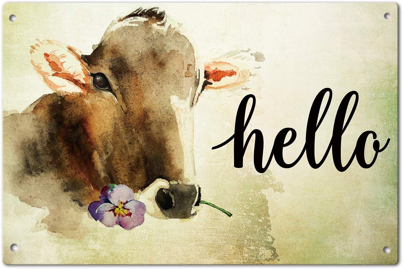 Agantree Art Hello Farm House Cow Cattle Garden Yard Porch Metal Sign Outdoor Decorative Metal Plaque 12 x 8 Inch