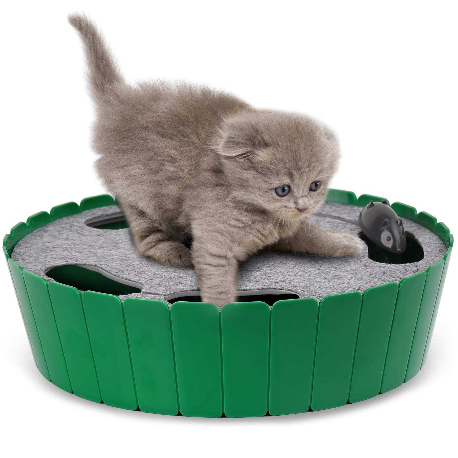 PAWABOO Pet Teasing Toy, Hide and Seek Electronic Mouse Hunt Interactive Cat Toy, Green by PAWABOO
