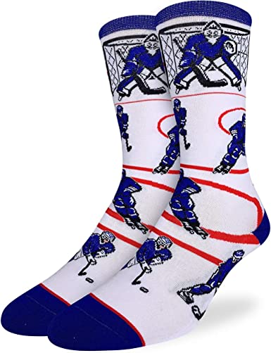 Good Luck Sock Men's Hockey, Blue & White Socks - Blue, Adult Shoe Size 7-12