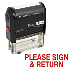 Please Sign and Return Self Inking Rubber Stamp - Red Ink