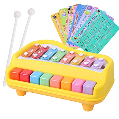 BAOLI 2 in 1 Piano and Xylophone Toy with 8 Key Baby Kid Child Musical Toys with Sheets of Nursery Rhymes (Yellow): Toys & Games