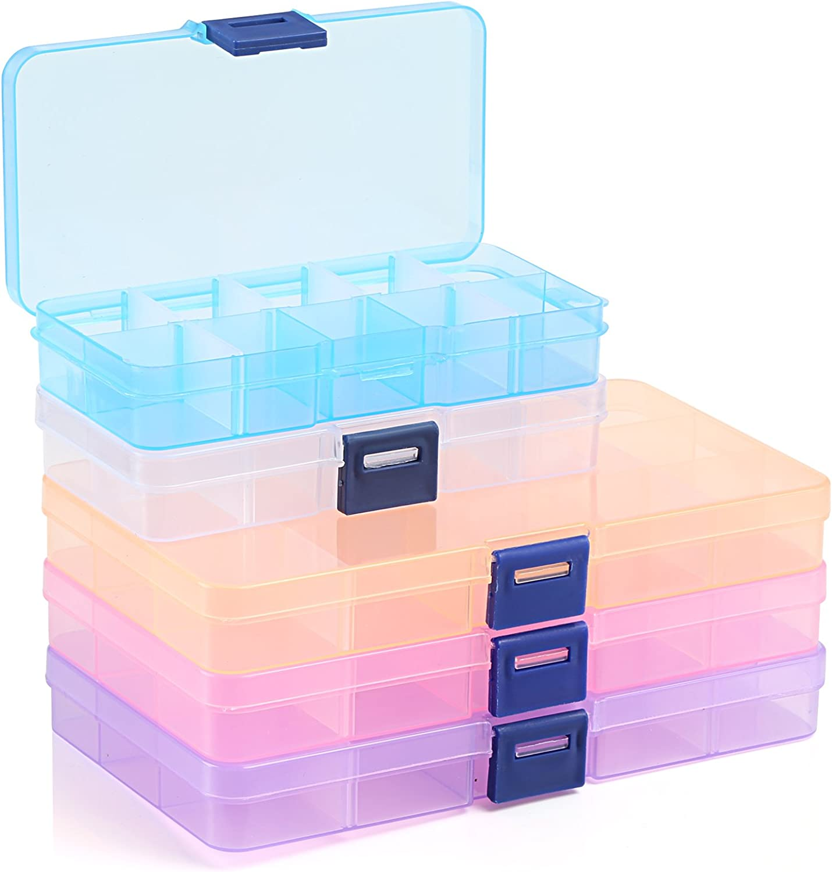 Caja de almacenamiento Naler de plástico ajustable 10/15 compartimentos, organizador de joyas, 5 paquetes de 5 colores: Amazon.es: Hogar