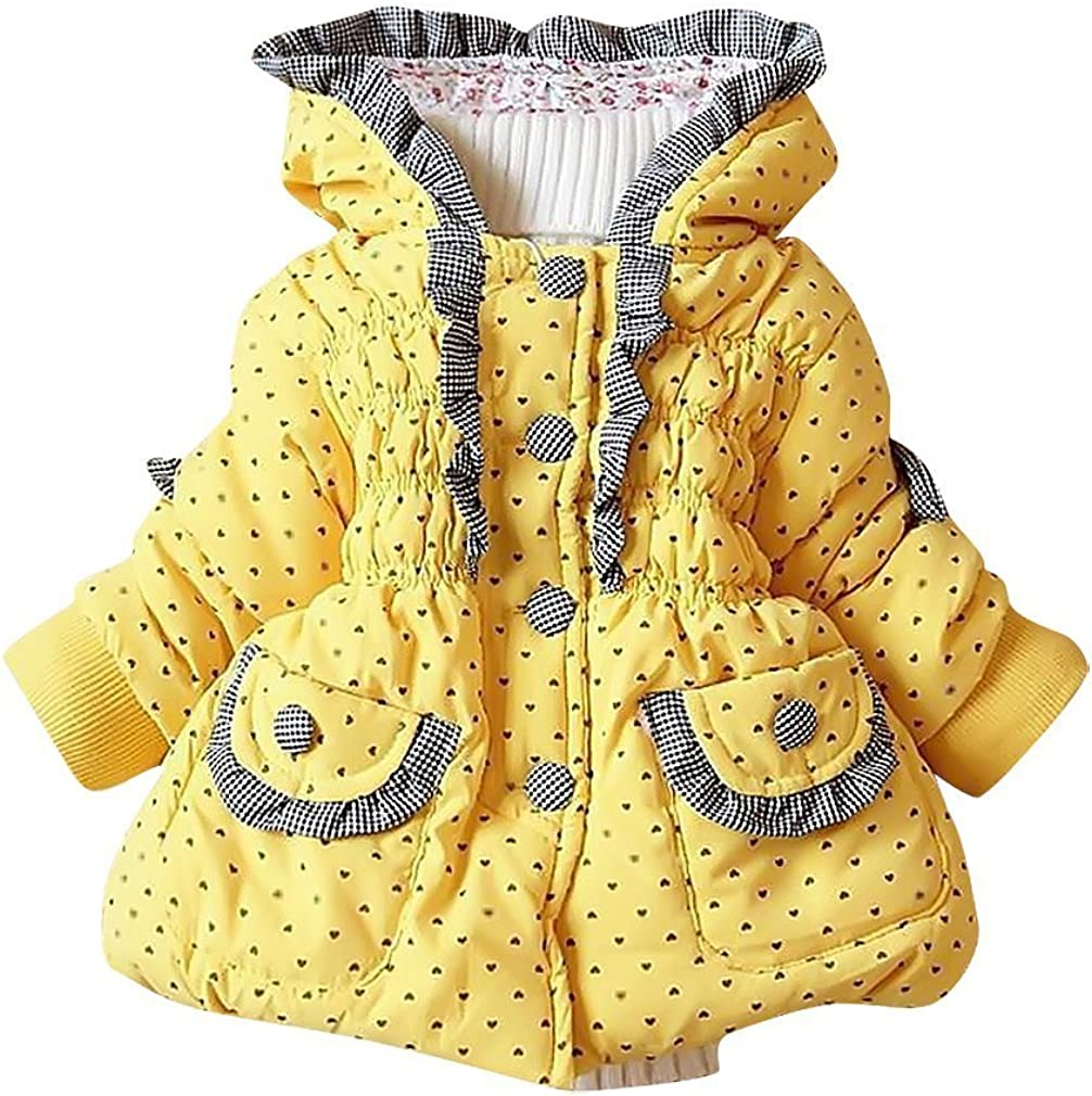 Sweety Baby Girl Hooded Jacket Lightweight Soft Warm Cotton Padded Hoodie Coat,Yellow 19-24 Months