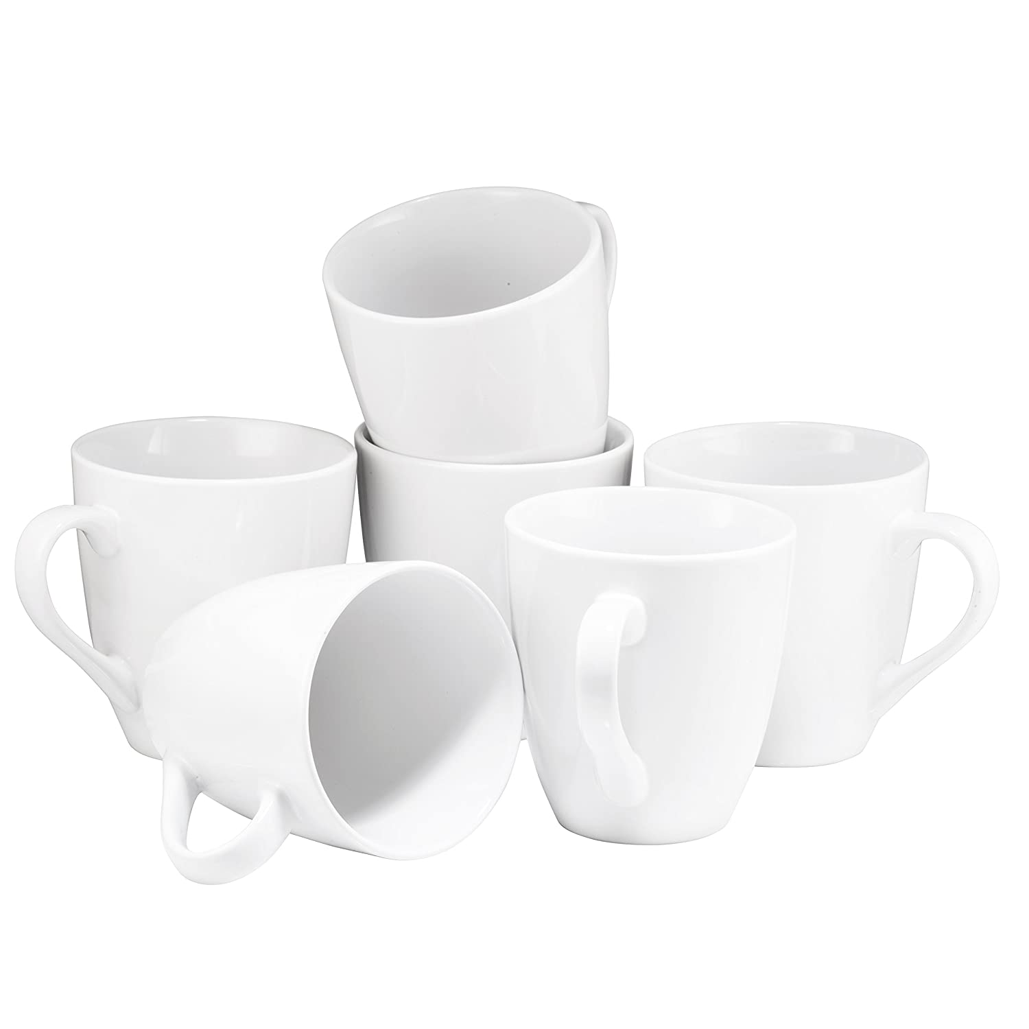 Coffee Mug Set Set of 6 Large-sized 16 Ounce Ceramic Coffee Mugs Restaurant Coffee Mugs By Bruntmor Matte Black BR3728