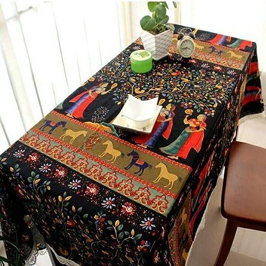 CFWL Mantel étnico de Lino y Lino de algodón 140 x 220 Mantel Cuadrado Amarillo Mantel Redondo Blanco Mantel Blanco Elegante: Amazon.es: Hogar