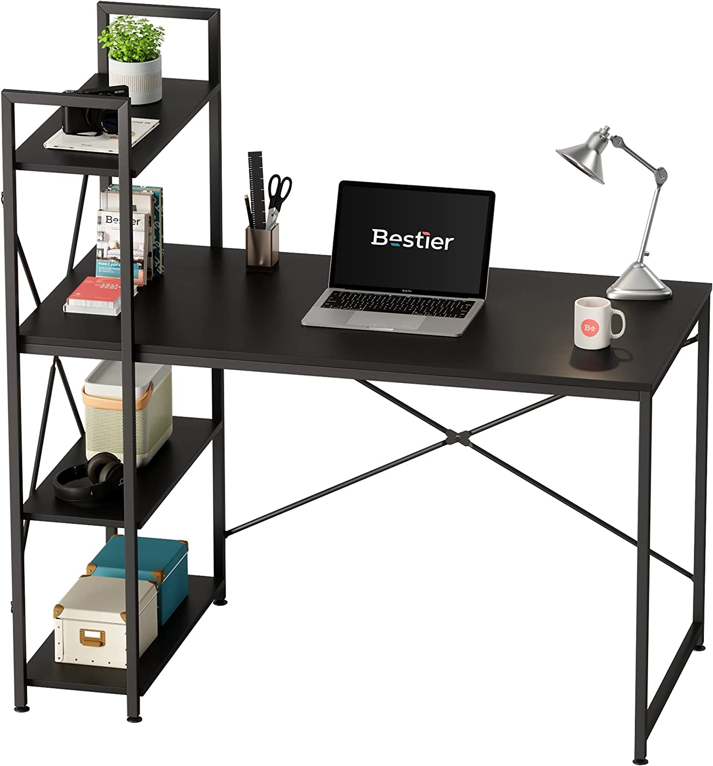 Bestier Computer Desk with Storage Shelves 47 Inch Home Office Desk Writing Table (Black, 47 Inch)