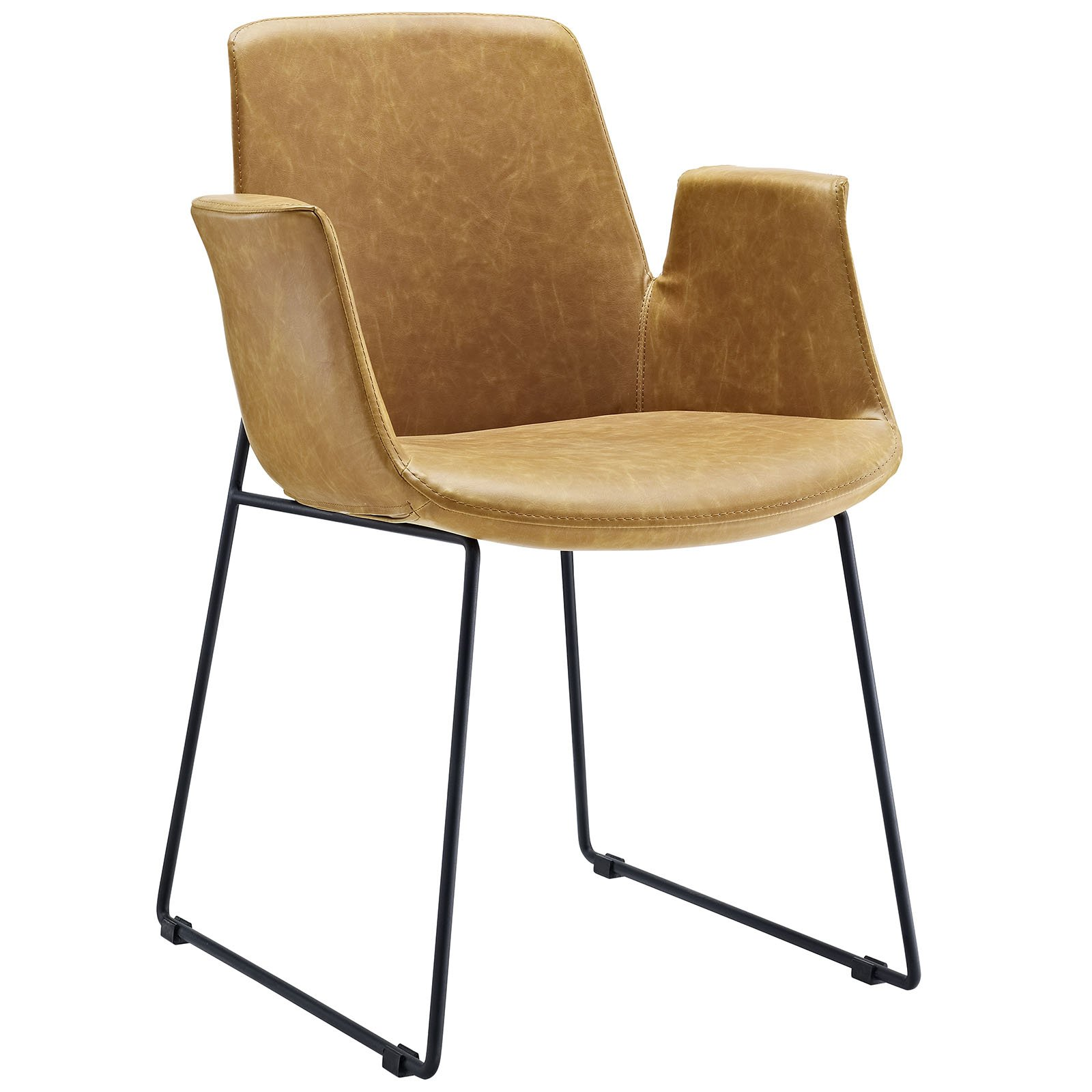 Modway EEI-1806-TAN Aloft Mid-Century Modern Leather, Dining Armchair, Tan by Modway (Image #1)