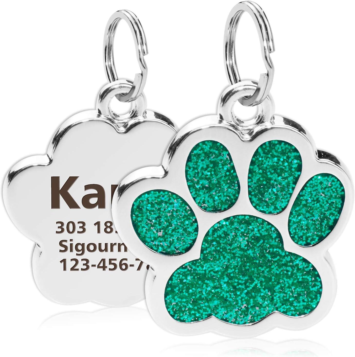 TagME Personalisierter Hund /& Katze Marke//Hundemarke aus Edelstahl mit eingraviertem Namen und Telefonnummer//Prickelnde Katzenmarke in Pfotenform