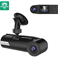 SOLIOM G1 380°Car Security Dash Cam Dual 190°Ultra Wide Angle Front and Inside Cabin Full HD Dashboard Camera with Time Lapse, G-Sensor, Loop Recording,Parking Monitor, Motion Detect for Uber Taxi