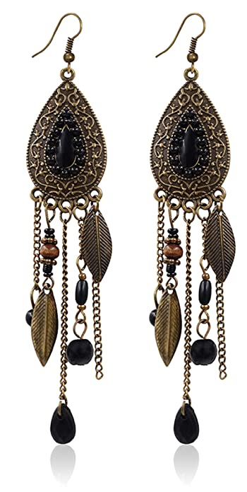 Eternity J. Women Vintage Retro Ethnic Drop Bohemian Dangle Earring Lolita Antique Bead Tassel Earrings