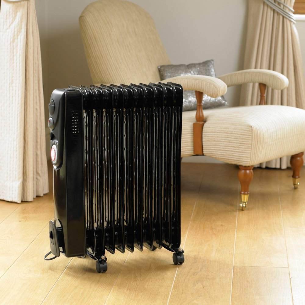 Garden mile® 2500w 11 Fin Black Oil Filled Radiator Portable Energy Effiicent Electric Heater Small Compact Floor Standing Room Heater With Adjustable Heat Control And 24Hr Timer (Black 2500w 11 Fin Radiator With 24Hr Timer)