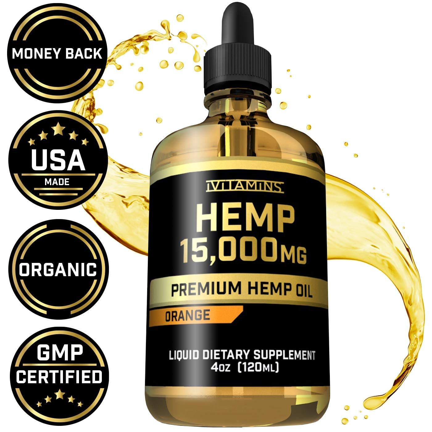 Hemp Oil Drops for Pain & Anxiety - 15,000mg - May Help with Stress, Inflammation, Pain, Sleep, Anxiety, Depression, Nausea + More - Zero THC CBD Cannabidoil - Rich in Omega 3,6,9