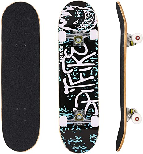 YUEBO Skateboard 31 x 8 Complete PRO Skateboard, Double Kick Concave Design 9 Layer Canadian Maple Wood Adult Tricks Skate Board for 5 Up Years Old Beginner, Kids, Boys, Girls