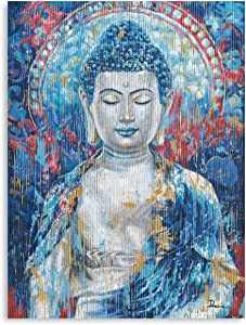 Vintage buddhism Gautam Buddha Statue Canvas Zen Wall Art Painting Teal Buddha Prints on Canvas Giclee Wall Decor for Living Room Office Home Decoration Framed Ready to Hang 12