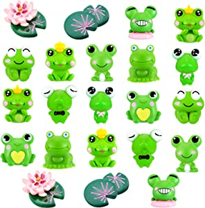 22 Pieces Cute Frog Miniature Figurines Frog Cake Topper Mini Garden Frog Ornaments Animals Model Fairy Garden Miniature Moss Landscape DIY Craft for Home Party Decoration Supplies