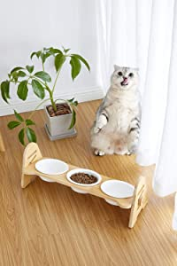 ALBOLET Raised Pet Bowl for Cats and Small Dogs,- Adjustable Elevated Dog Cat Food and Water Bowl Stand Feeder with 3 White Ceramic Bowls,Cat Dog Food Stand