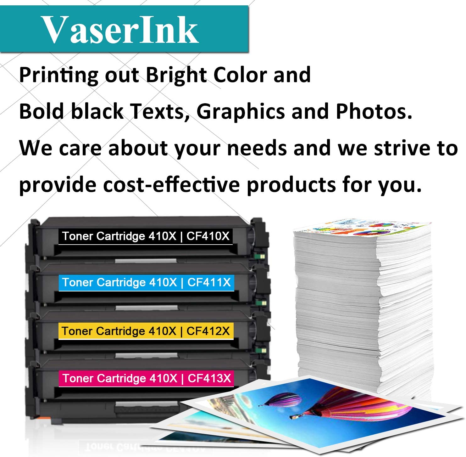 by VaserInk CF411X Cyan Toner Cartridge Replacement for HP Color Laserjet Pro MFP M477fdn M477fdw M477fnw Pro M452dn M452dw M452nw Printer Toner 1-Pack High Yield 410X