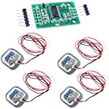 4pcs 50kg Half-bridge strain gauge Load Cell Body Scale Weighting Sensor Amplifier+ 1pcs HX711 AD Weight Module Geekstory