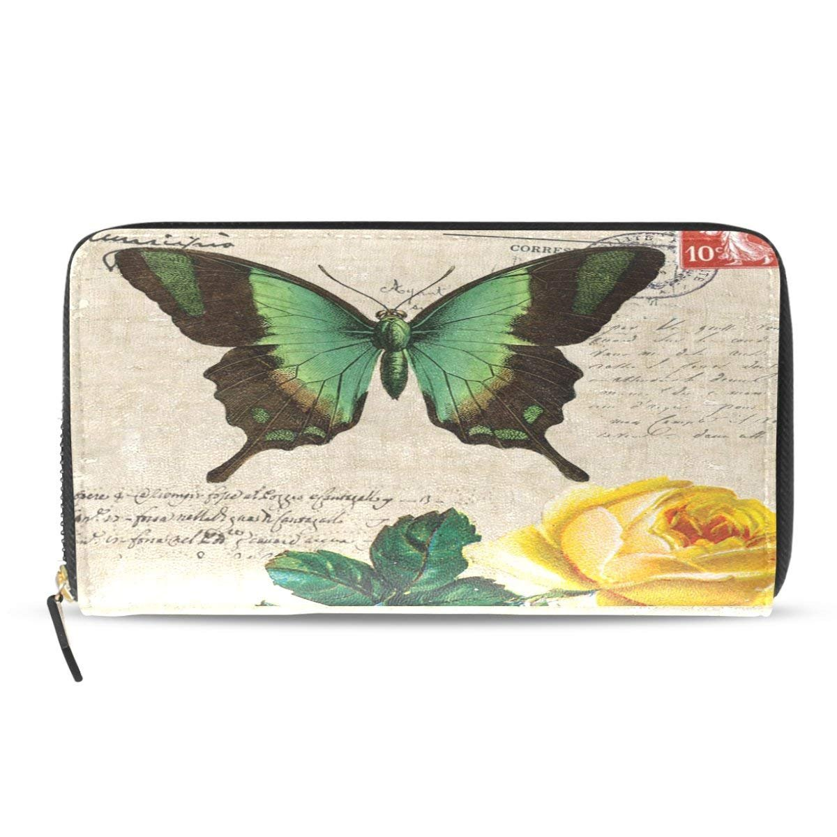 Butterfly Zip Around Wallet HandBag Women Retro Stamp Clutch Purse