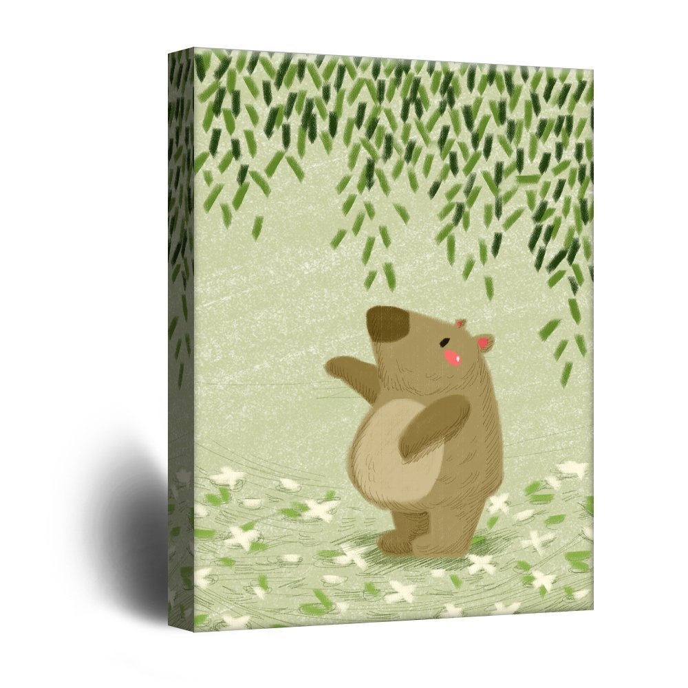 wall26 Cute Cartoon Animals Canvas Wall Art - A Tapir under Green ...