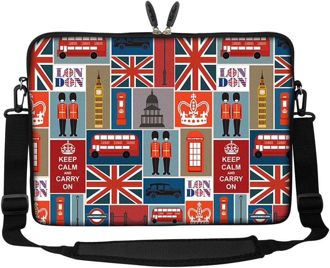 Meffort Inc 17 17.3 inch Neoprene Laptop Sleeve Bag Carrying Case with Hidden Handle and Adjustable Shoulder Strap - England Symbol