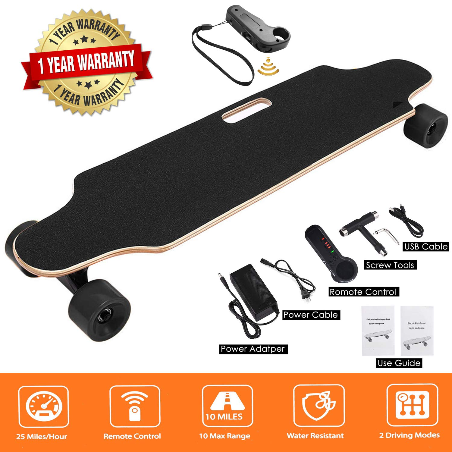 Miageek Youth Electric Fish-Board Skateboard ,12 MPH Top Speed, 350W Motor,7 Layers Maple Longboard with Wireless Remote Control Electirc Board[US Stock] (35.4 x 8.0 x 4.7inch - Black)