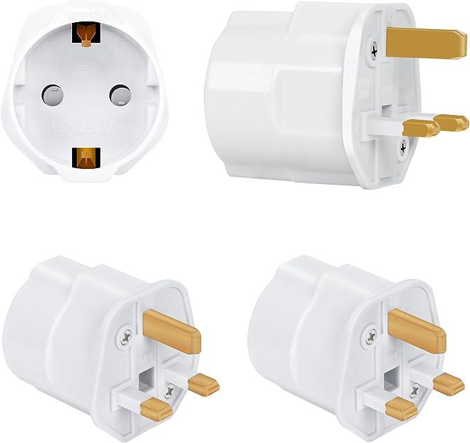 Incutex 2X adaptadores de Viaje UK, GB, Inglaterra Schuko, 2 Patas Europa hacia 3 Patas RU, Blanco: Amazon.es: Electrónica