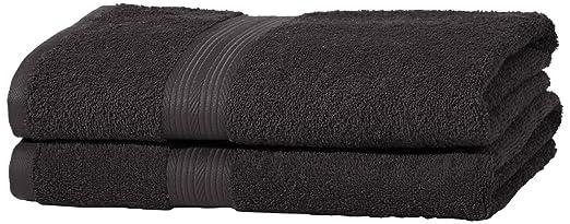 148 opinioni per AmazonBasics- Set di 2 asciugamani da bagno che non sbiadiscono, colore Nero