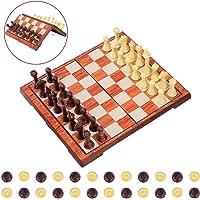 iBaseToy Magnetisch Schachspiel 2 In 1 für Schach und Dame Set mit Faltbarem Schachbrett Pädagogisches Spiel für Erwachsene und Kinder– 36 x 31cm
