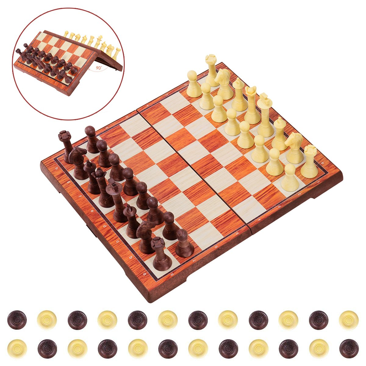 "iBaseToy Magnetic Chess Set 2 in 1 Chess Checkers Set Adults Kids Traditional Chess Game Set Folding Chess Board – 14"" x 12"""
