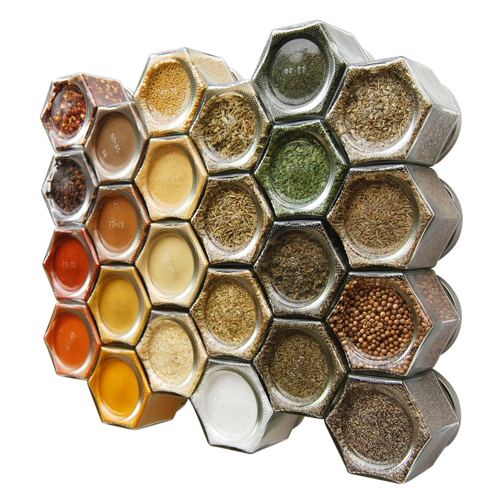 Gneiss Spice Everything Spice Kit: 24 Magnetic Jars Filled with Standard Organic Spices / Hanging Magnetic Spice Rack (Large Jars, Silver Lids) by Gneiss Spice