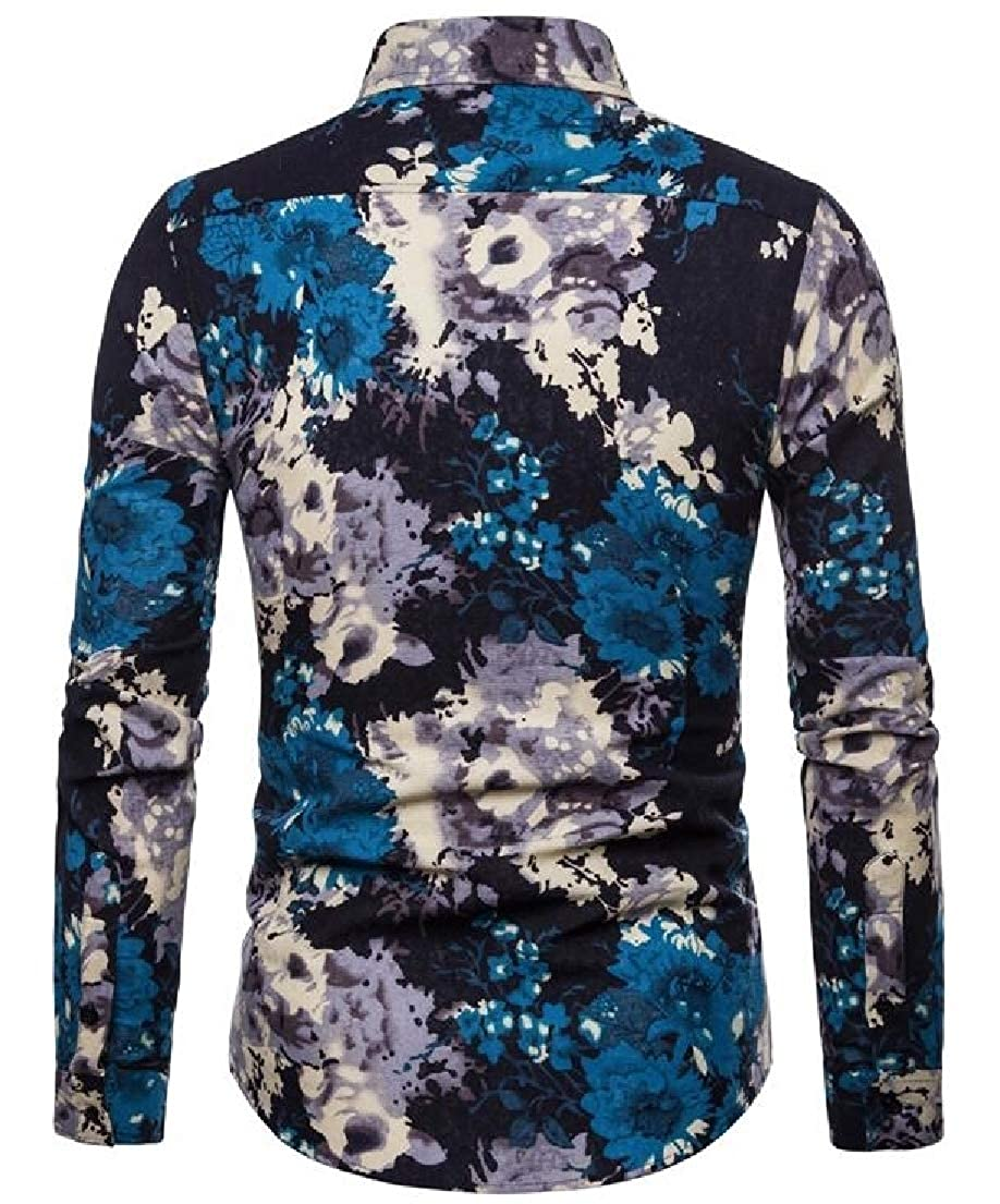 Zantt Mens Casual Floral Print Slim Fit Long Sleeve Button Up Lapel Stylish Shirts