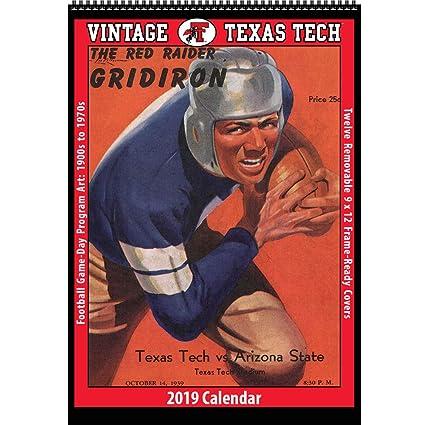 Texas Tech Calendar 2019 Amazon.: Vintage Texas Tech Red Raiders 2019 College Football