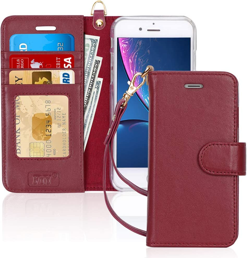 "FYY Case for iPhone 8 Plus/iPhone 7 Plus,[Kickstand Feature] Luxury Genuine Leather Wallet Case Flip Folio Cover with[Card Slots][Wrist Strap] for Apple iPhone 8 Plus 2017/7 Plus 2016 (5.5"") WineRed"