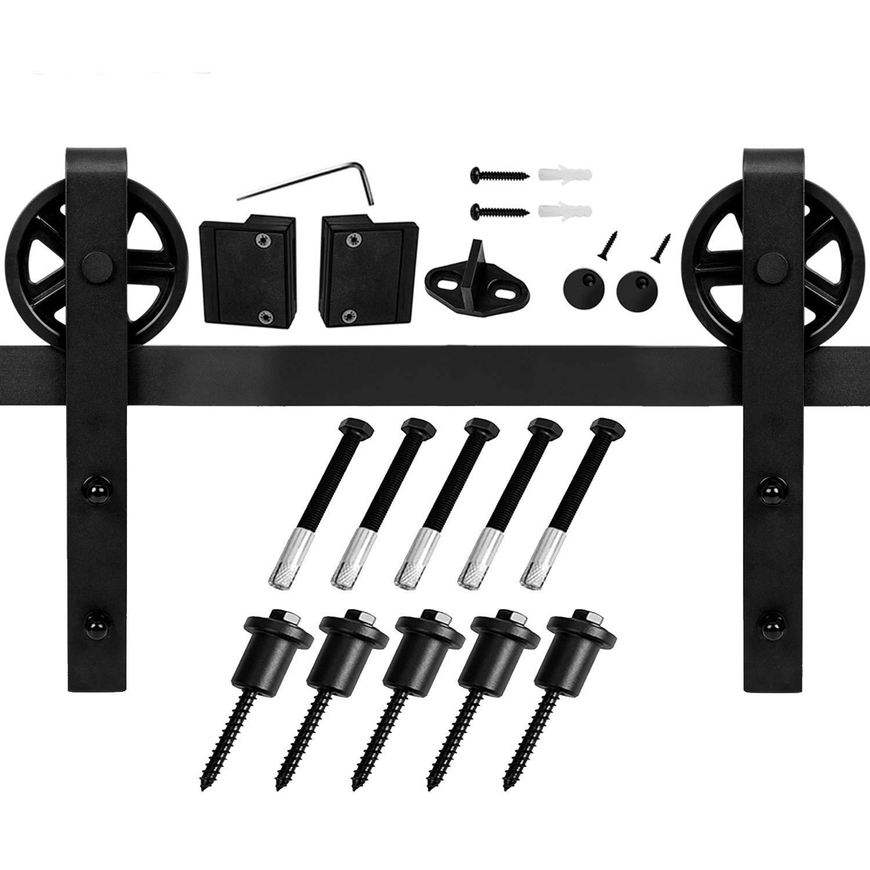 EaseLife 6 FT Vintage Strap Industrial Wheel Sliding Barn Wood Door Hardware Track Kit,(6FT Track Single Door) by EaseLife