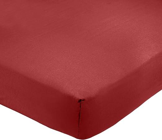 AmazonBasics - Sábana bajera ajustable (polialgodón 200 hilos) Burdeos - 135 x 190 x 30 cm: Amazon.es: Hogar