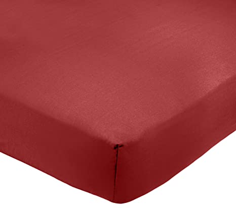 a67496d3ab7 AmazonBasics - Sábana bajera ajustable (polialgodón 200 hilos) Burdeos -  135 x 190 x