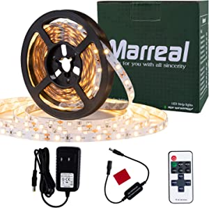 Marreal RF Remote Control LED Strip Light Warm White, 16.4FT 3000K 300 LEDs 2835, Non Waterproof 12V UL Power Adapter, LED Ribbon for Bedroom, Vanity Mirror Decoration