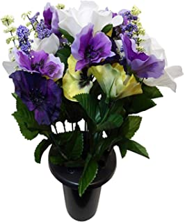 Florist supplies uk artificial silk flower phalaenopsis orchid spray artificial plants white purple and yellow pansy rose grave side flowers in memorial pot mightylinksfo