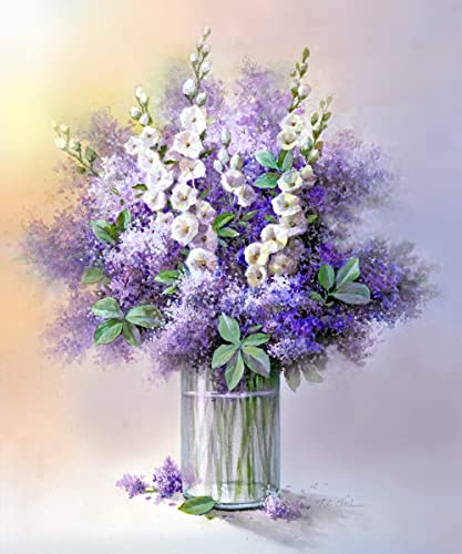Amazon Com Violet And White Flowers Art Print Of Watercolor