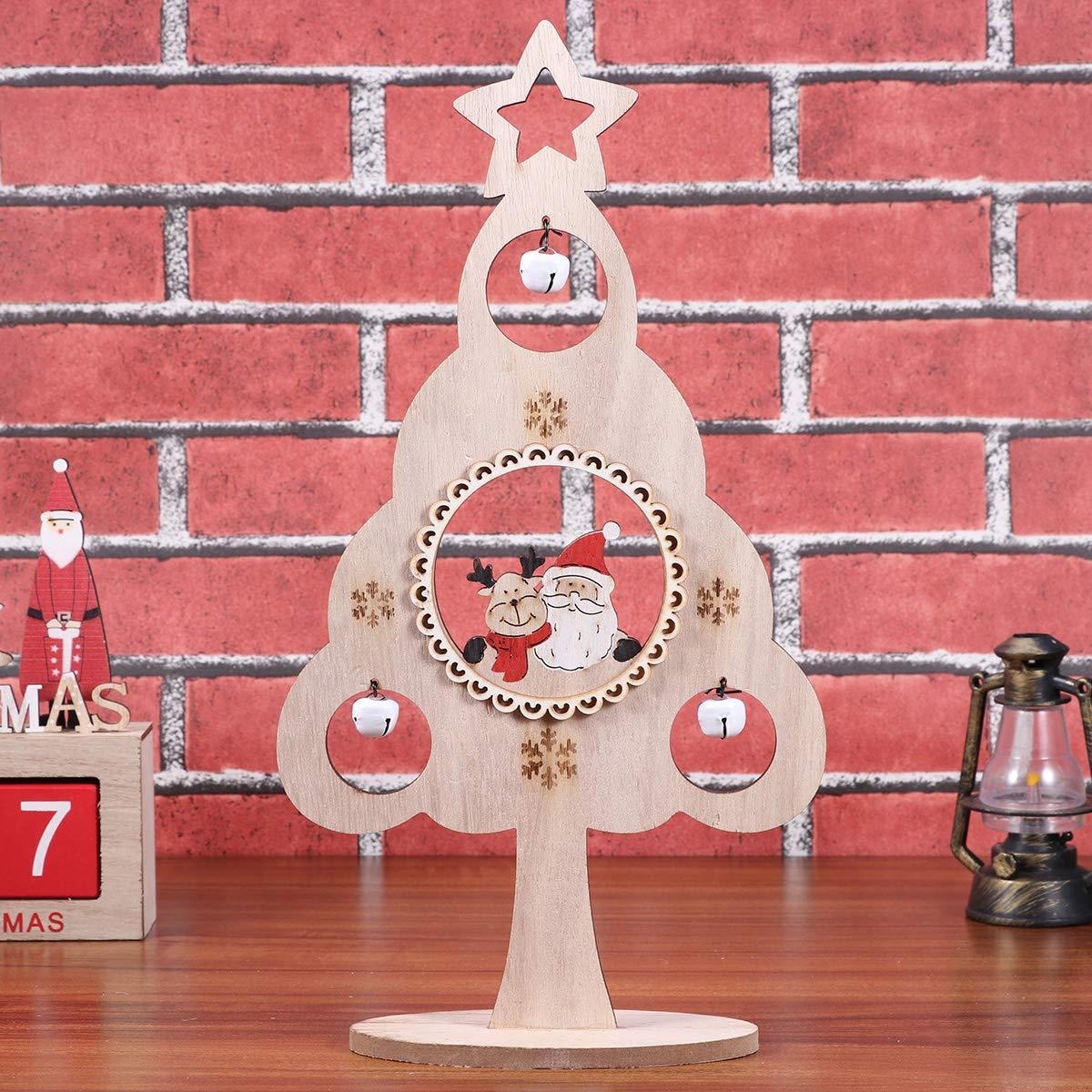 BESTOYARD Small Wooden Tabletop Christmas Tree with Jingle Bell Snowflake Santa Claus Reindeer Rustic Vintage Christmas Decorations Ornaments Xmas Table Centerpiece