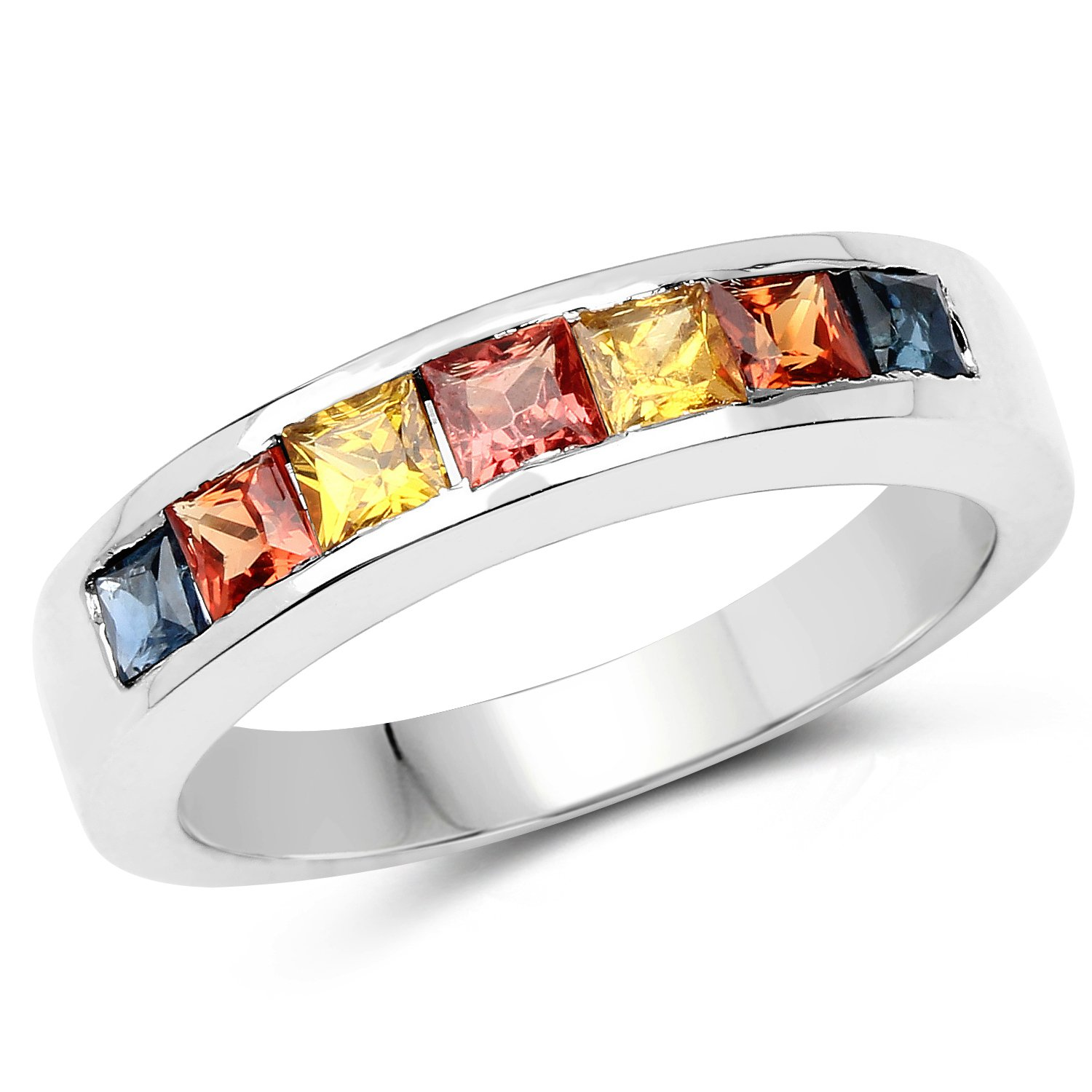 1.26 Carat Genuine Multi Sapphire .925 Sterling Silver Ring