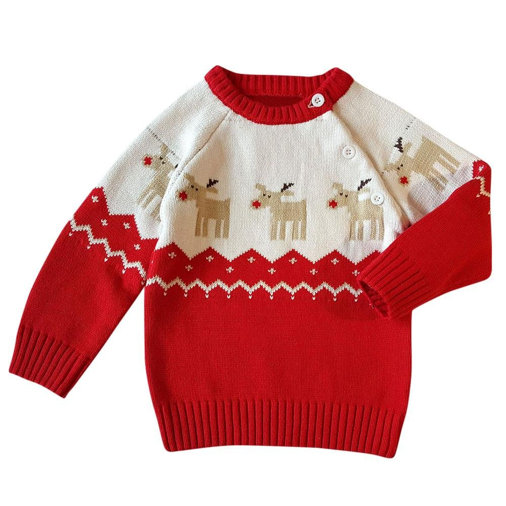 Toddler Baby Christmas Clothes Kids Boys Girls Button-up Christmas Deer Sweater Knitted Cotton Outwear by LuckUK