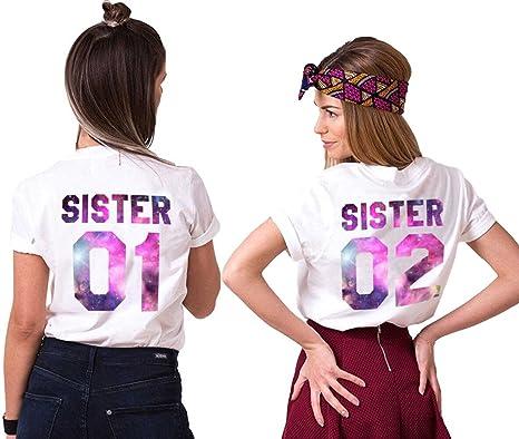 Mejores Amigas Camiseta Para Mujer T-Shirts 2 Piezas Impresión Sister 01 02 DE Colores Camisa Manga Corta Hermanas: Amazon.es: Ropa y accesorios