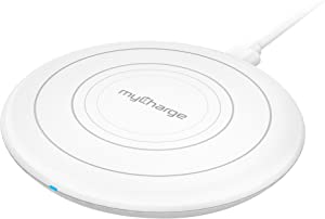 myCharge Wireless Charger Qi Certified Power Disk+ Fast Charge Wireless Charging Pad for Apple (iPhone XS, XS Max, XR, X, 8, 8 Plus) Android (Samsung Galaxy S8, S8+, Note 8, S7, S7 Edge, S6, S6 Edge)