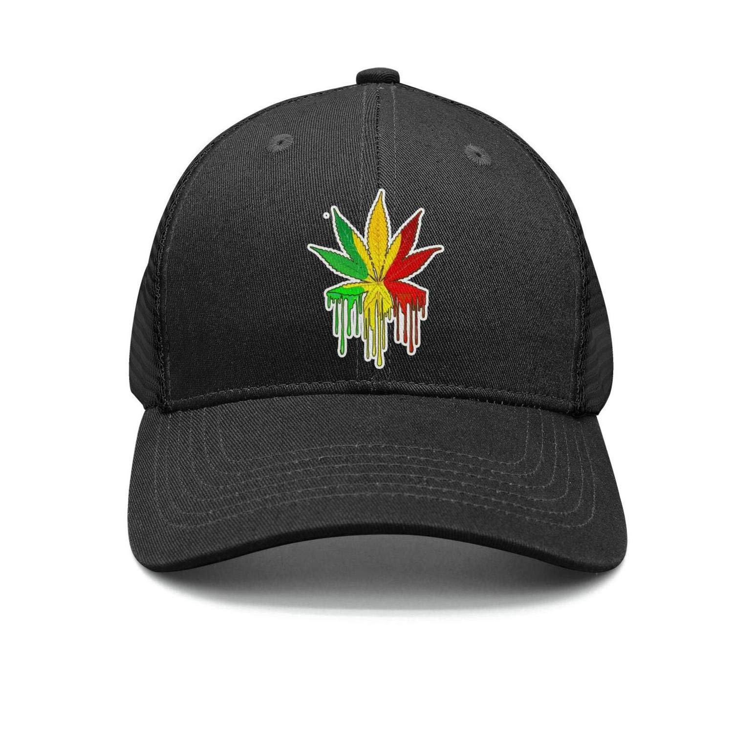 YHNBHI Three Color Cannabis Patch Unisex Flat-Along Adjustable Cricket Cap 3D Printing Strapback Hat