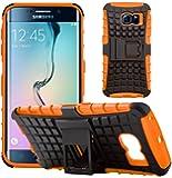 GizzmoHeaven Samsung Galaxy S6 Edge Hülle Stoßfest Handy Schutzhülle Stoßgedämpfter Extraharte Tasche Silikon Gel Hybrid Armor Cover Case Etui mit Ständer für Samsung Galaxy S6 Edge SM-G925 - Orange